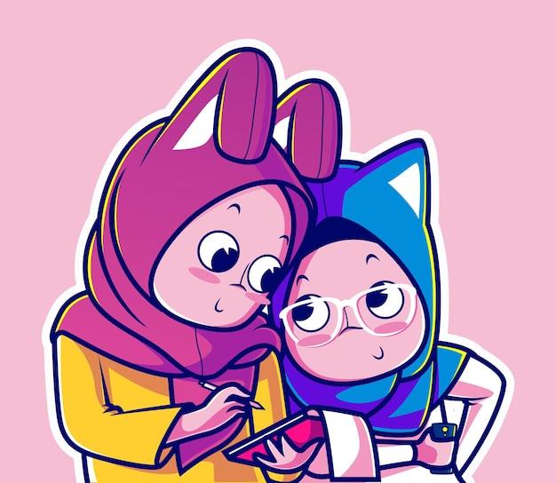 Carácter musulmán linda pareja con dibujos animados de orejas de conejo y gato
