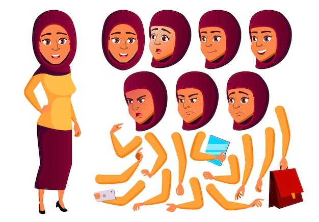 Carácter de niña adolescente. árabe. creador de creación para animación. enfrenta las emociones, las manos.