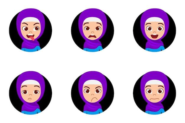 Carácter de niña árabe musulmana con diferentes expresiones faciales y emociones con trajes musulmanes aislados