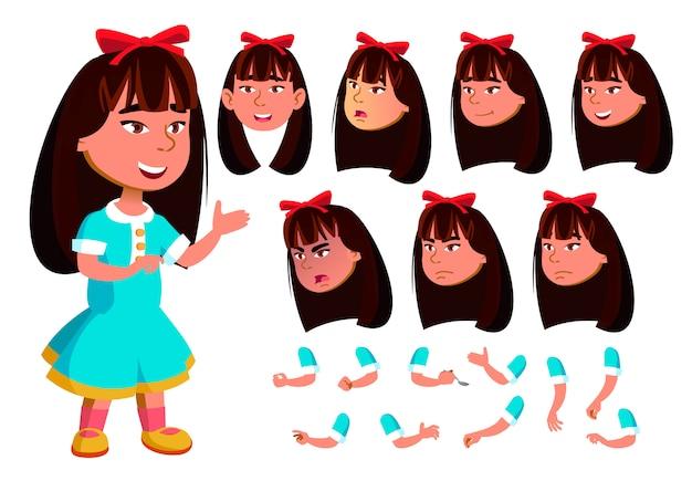 Carácter de niña niño. asiático. creador de creación para animación. enfrenta las emociones, las manos.