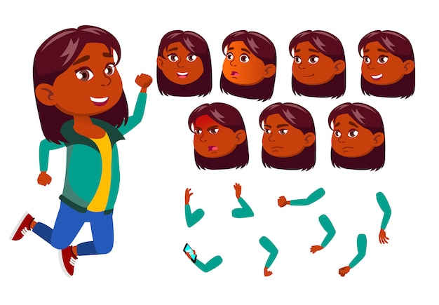 Carácter de niña niño. indio. creador de creación para animación. enfrenta las emociones, las manos.