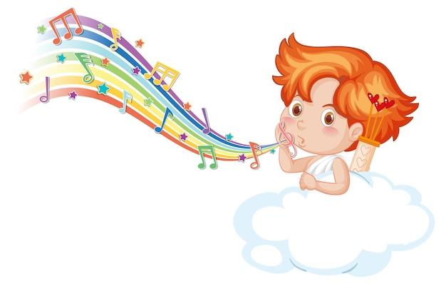 Carácter de niño cupido en la nube con símbolos de melodía en arco iris