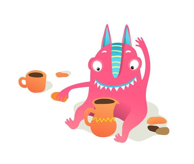 Carácter de niño monstruo jugando con plastilina o arcilla, haciendo vajilla feliz sonriendo. criatura linda para festival hecho a mano.