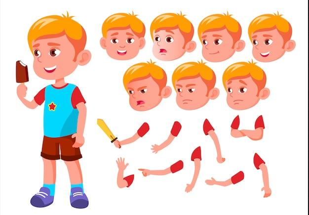 Carácter niño niño. europeo. creador de creación para animación. enfrenta las emociones, las manos.