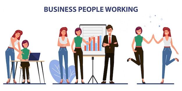 Carácter de oficina de trabajo en equipo de negocios con reunión de seminario colega.