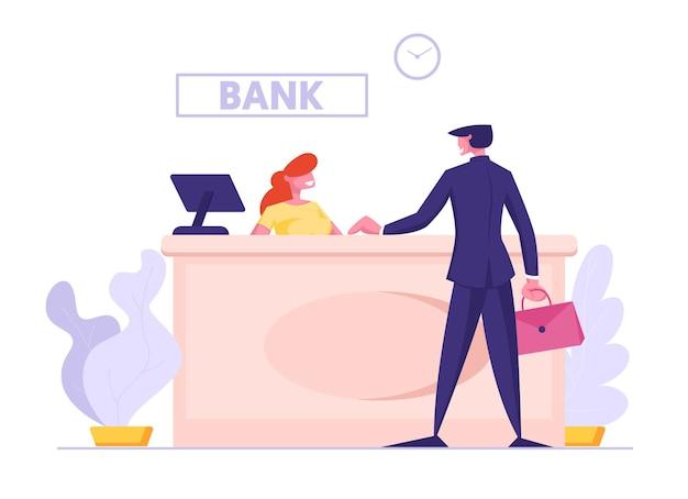 Carácter de operador de banco de mujer sentada en el escritorio con computadora y comunicación de cliente de hombre de negocios