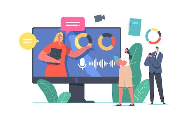 Carácter de orador empresarial que brinda consultas financieras desde un enorme monitor de computadora con gráficos y tablas de análisis de datos y estadísticas de inversión, reunión en línea. ilustración de vector de gente de dibujos animados