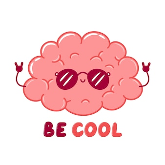 Carácter de órgano de cerebro humano fresco divertido lindo en gafas de sol. icono de ilustración de personaje de kawaii de dibujos animados de línea plana. aislado sobre fondo blanco. sea camiseta fresca, concepto de diseño de impresión de carteles