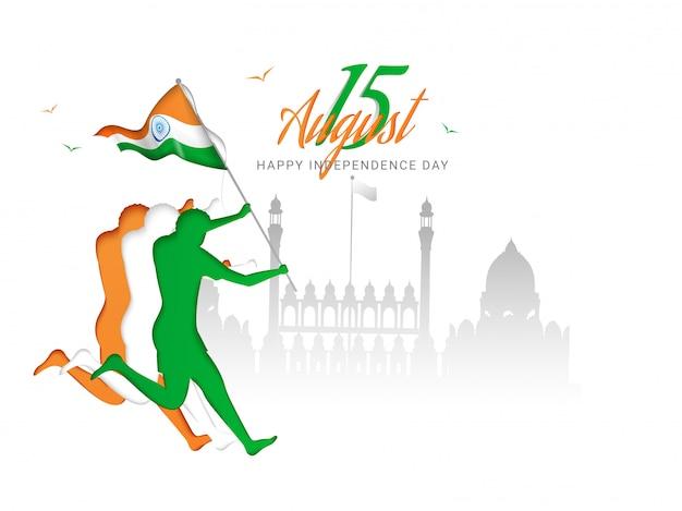 Carácter de papel del ser humano sosteniendo la bandera nacional india con el monumento del fuerte rojo para el feliz día de la independencia.