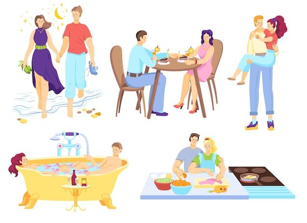 Carácter de pareja encantadora juntos ilustración aislada