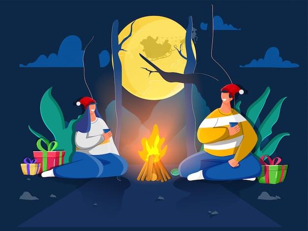 Carácter de pareja feliz disfrutando de bebida con cajas de regalo y fogata en vista de naturaleza de luna llena. tarjeta de felicitación .