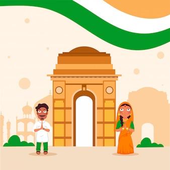 Carácter de pareja haciendo namaste frente a monumentos famosos de la india y tricolor ondulado sobre fondo pastel melocotón.