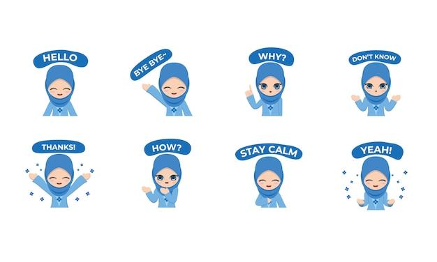 Carácter de pegatina de niña con ropa azul, hijab y estilo casual