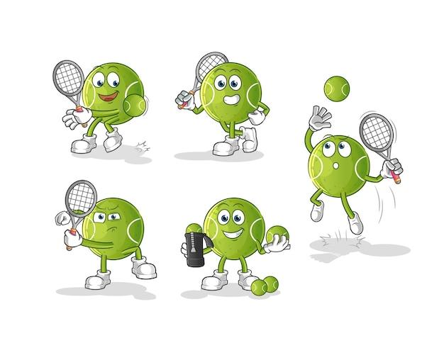 Carácter de pelota de tenis. mascota de dibujos animados