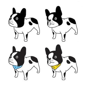 Carácter de perro bulldog francés collar bufanda icono ilustración de dibujos animados