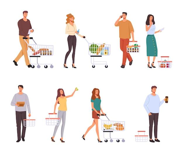 Carácter de personas comprando comida en supermercado conjunto aislado.