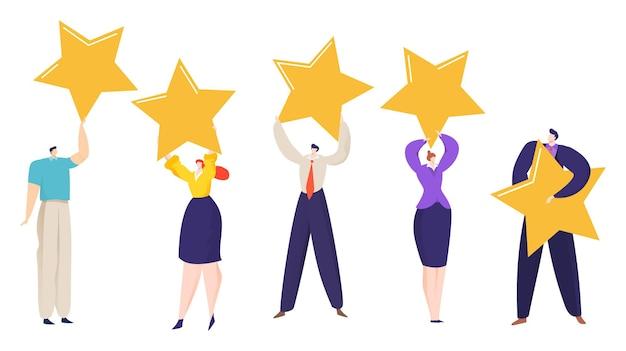 El carácter de las personas del grupo sostiene un cartel de tablero con una calificación de cinco estrellas