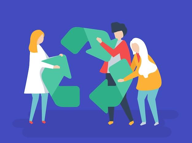 Carácter de personas sosteniendo una ilustración de símbolo de reciclaje