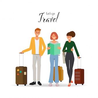 Carácter de personas viajando en vacaciones de verano con bolsa de viaje.