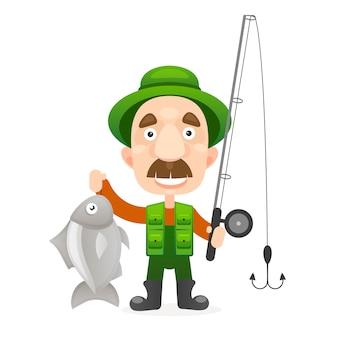 Carácter pescador feliz celebrar gran pez.