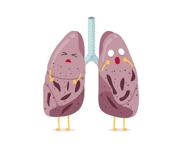 Carácter de pulmones de dibujos animados insalubres enfermos tuberculosis virus enfermedad interna del sistema respiratorio humano