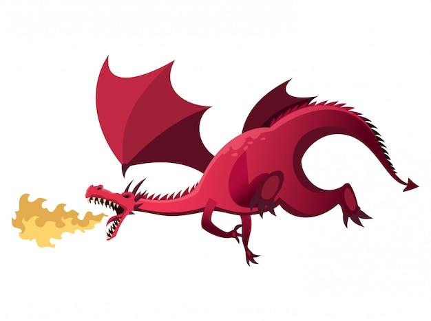 Carácter del reino medieval. dragón aislado que respira fuego sobre un fondo blanco. personaje