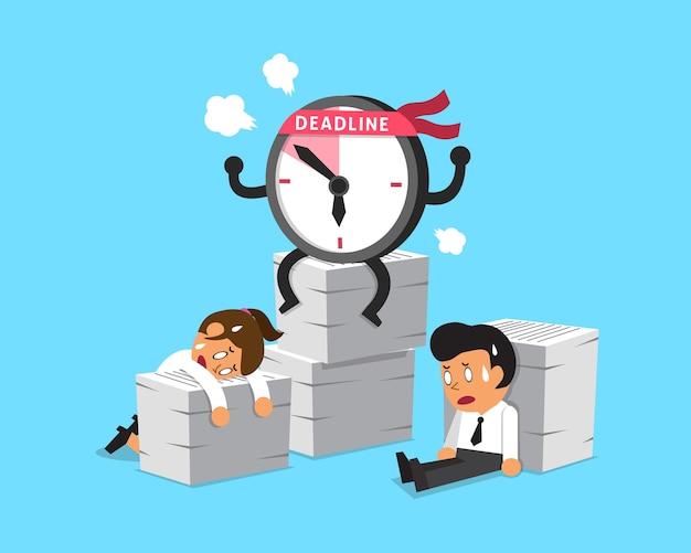Carácter de reloj de fecha límite de dibujos animados y gente de negocios