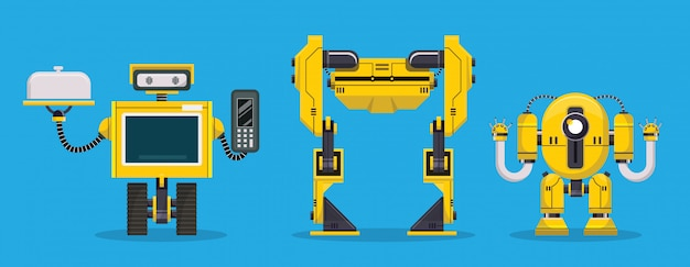 Carácter de robot amarillo. tecnología, futuro. ilustración vectorial de dibujos animados