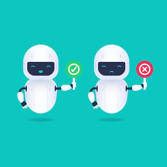 Carácter de robot amigable blanco con signos de sí y no