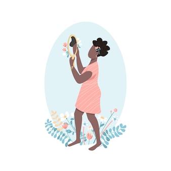 Carácter sin rostro de color plano de amor propio de mujer africana. belleza femenina positiva. mujer mira en el espejo. ilustración de dibujos animados aislado de autoaceptación