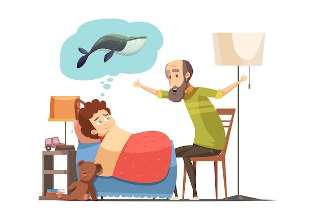 Carácter senior de anciano con barba le dice a su nieto antes de dormir historia de dibujos animados retro cartel vector ilustración