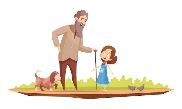 Carácter senior del anciano con bastón caminando con niña y perrito fuera del cartel retro de dibujos animados vector ilustración