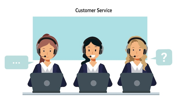 Carácter de servicio al cliente operador de la oficina del centro de llamadas trabajando en auriculares. ilustración de personaje de dibujos animados de vector plano