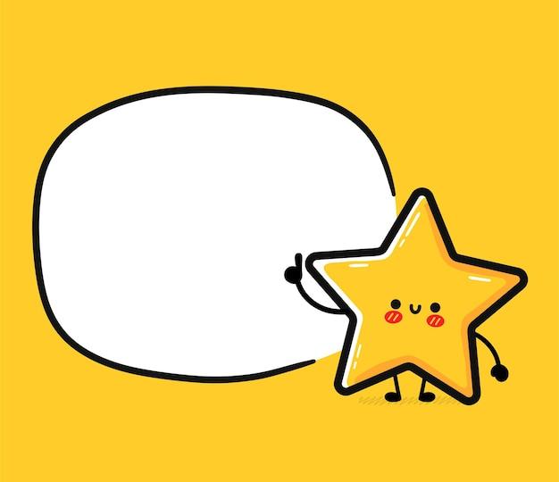 Carácter de signo de estrella feliz divertido lindo con cuadro de texto