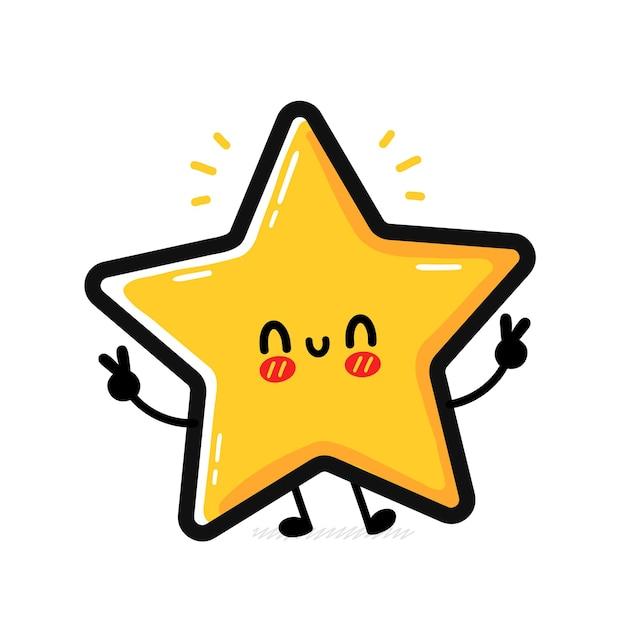 Carácter de signo de estrella feliz divertido lindo