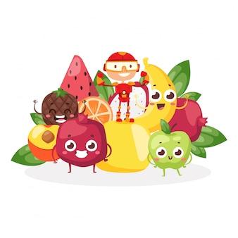 Carácter de superhéroe de los niños, soporte de frutas, bayas, alimentos para niños fuertes, vitaminas, saludable, aislado en blanco, ilustración plana.
