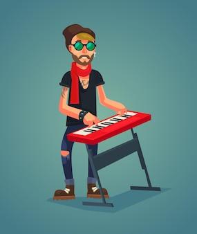 Carácter de teclista jugar ilustración de dibujos animados de música