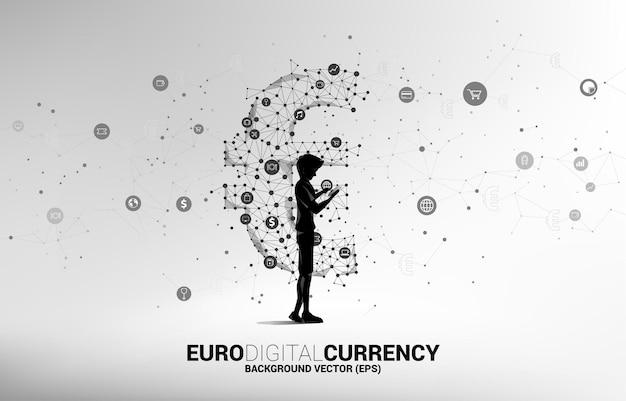 Carácter con teléfono móvil y dinero icono de moneda euro.