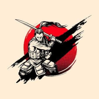 Carácter de tinta estilo samurái