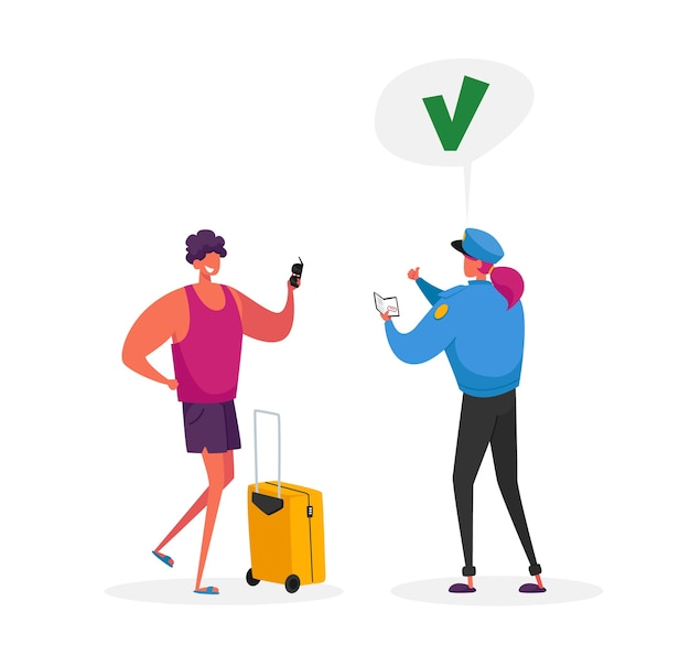 Carácter de trabajador de control de pasaportes en uniforme dando enorme marca de verificación verde al turista