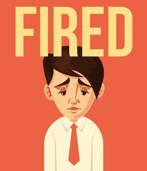 Carácter de trabajador de oficina despedido. caricatura plana