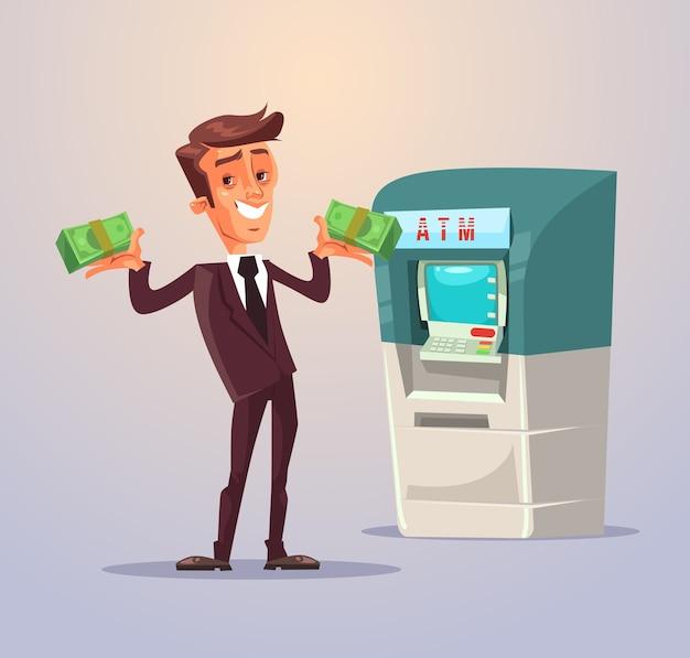 Carácter de trabajador de oficina empresario retirar dinero de cajeros automáticos. ilustración de dibujos animados plana