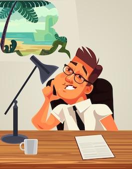 Carácter de trabajador de oficina de hombre cansado soñando vacaciones en el lugar de trabajo. Vector Premium