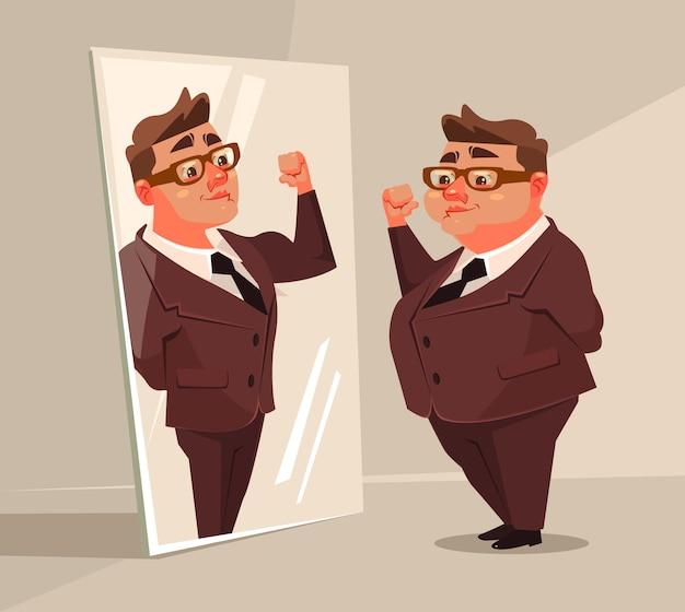 Carácter de trabajador de oficina de hombre gordo finge ser un hombre fuerte en el espejo.