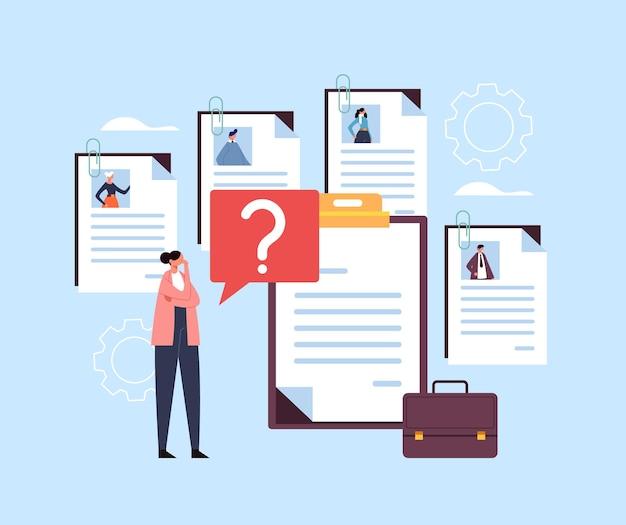 Carácter de trabajador de oficina de mujer de negocios elegir candidato de trabajo de currículum. concepto de reclutamiento de caza de cabezas.
