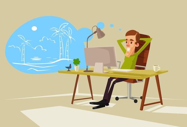 Carácter de trabajador de oficina soñando con vacaciones.