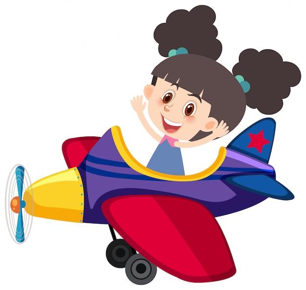 Carácter único de niña montando avión en blanco