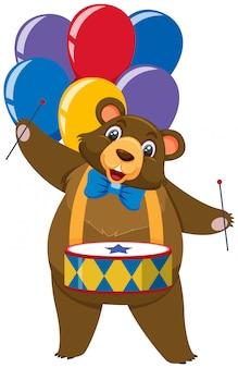 Carácter único del oso de circo con globos sobre fondo blanco.