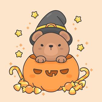 Carácter de vector de oso lindo en una calabaza con dulces y estrellas de disfraces de halloween
