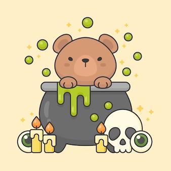 Carácter de vector de oso lindo en una olla de veneno con calavera y velas
